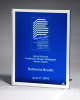 Glass Plaque with Blue Center and Mirror Border Cobalt Glass Awards