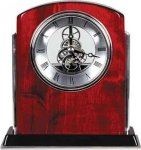 Rosewood Piano Finish Arch Clock with Silver Trim Desk Clocks