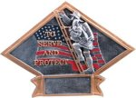 Firefighter Diamond Plate Resin Firefighter Trophy Awards