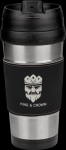 Stainless Steel Travel Mug with Black/Silver Leatherette Grip Promotional Mugs