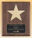 Walnut Stained Piano Finish Plaque with 8 Gold Star Sales Awards